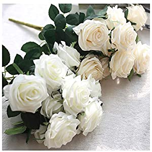 SIUONI 10 Fake Flower Artificial Bouquet French Rose Bouquet Ornaments Living Room Decoration Dining Table Floral Silk Flower Imitation(Milk White) 3