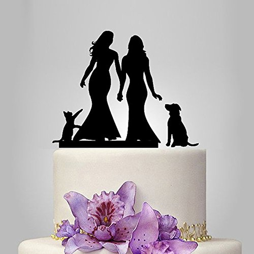 Acrylic Lesbian With 1 Dog & 1 Cat Wedding Cake Topper/Wedding Stand/Wedding Decoration Wedding Cake Accessories Marriage by Tamengi