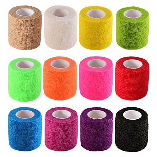 Pangda 12 Pieces Adhesive Bandage Wrap Stretch Self-Adherent Tape for Sports, Wrist, Ankle, 5 Yards Each (12 Colors, 2 Inches) ()