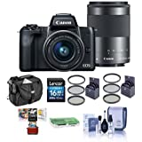 Canon EOS M50 Mirrorless Camera EF-M 15-45mm f/3.5-6.3 EF-M 55-200mm f/4.5-6.3 IS STM Lenses, Black - Bundle 16GB SDHC Card, Camera Case, 49mm/52mm Filter Kits, Mac Software More