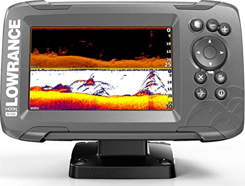 Lowrance HOOK2 5 - 5-inch Fish Finder with SplitShot Transducer and US Inland Lake Maps Installed from Lowrance