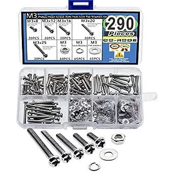 290pcs M3 Phillips Pan Head Screws Bolts Nuts Lock Flat Washers Assortment Kit (M3,304 Stainless Steel)