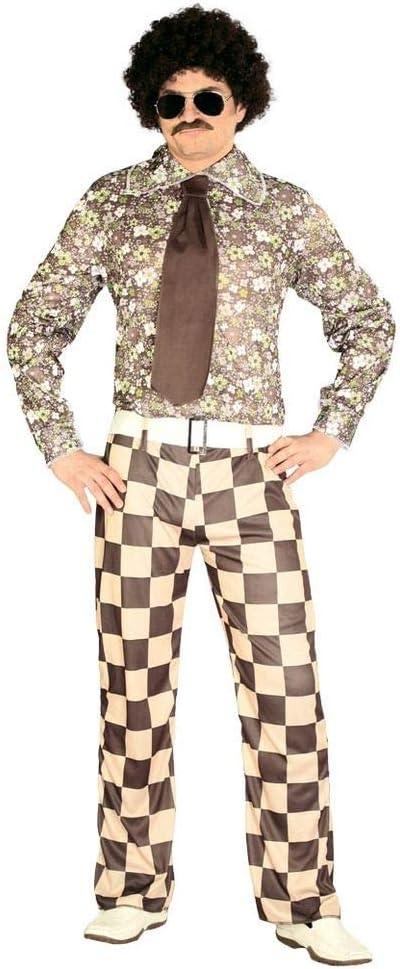 shoperama Disfraz retro de los años 60 y 70 para hombre, a cuadros, para baño, camisa, pantalones, corbata, bailarina, festival, flores, talla: L