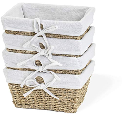 Red Co. Multi-Purpose Nesting Seagrass Basket with Handles and Liners Set of 4, Storage Containers, Home Organizers