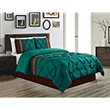 7 Pieces QUEEN size Teal Blue / Brown Double-Needle Stitch Pinch Pleat All-Season Bedding-Goose Down Alternative Embroidered Comforter Set