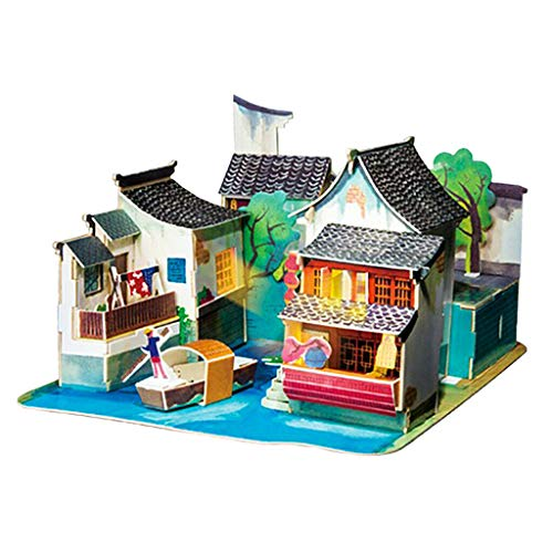 Willow Dollhouse Kit - NATFUR 3D Wooden Doll House DIY Set Furniture Kit Girls Play Dollhouse Puzzle Toys