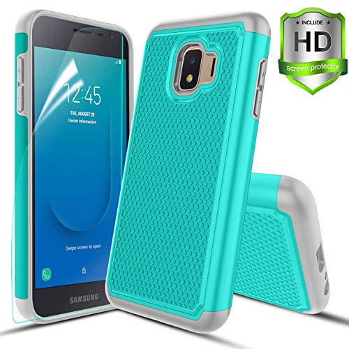 - Compatible with Samsung Galaxy J2 Case/J2 Core/J2 Dash/J2 Pure/J260 Case,w HD Screen Protector Dual Layers Protective Hard PC Football Lines Design Back Soft TPU Rubber Shockproof Case.Teal