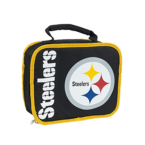 Officially Licensed NFL Pittsburgh Steelers Sacked Lunch Cooler Bag, Black, 10.5 x 8.5 x 4
