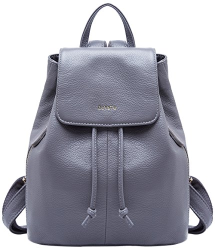 Backpack School 02 Leather Grey Bag for Genuine Ladies Women Travel BOYATU Elegant Shoulder w7OE8Hnx