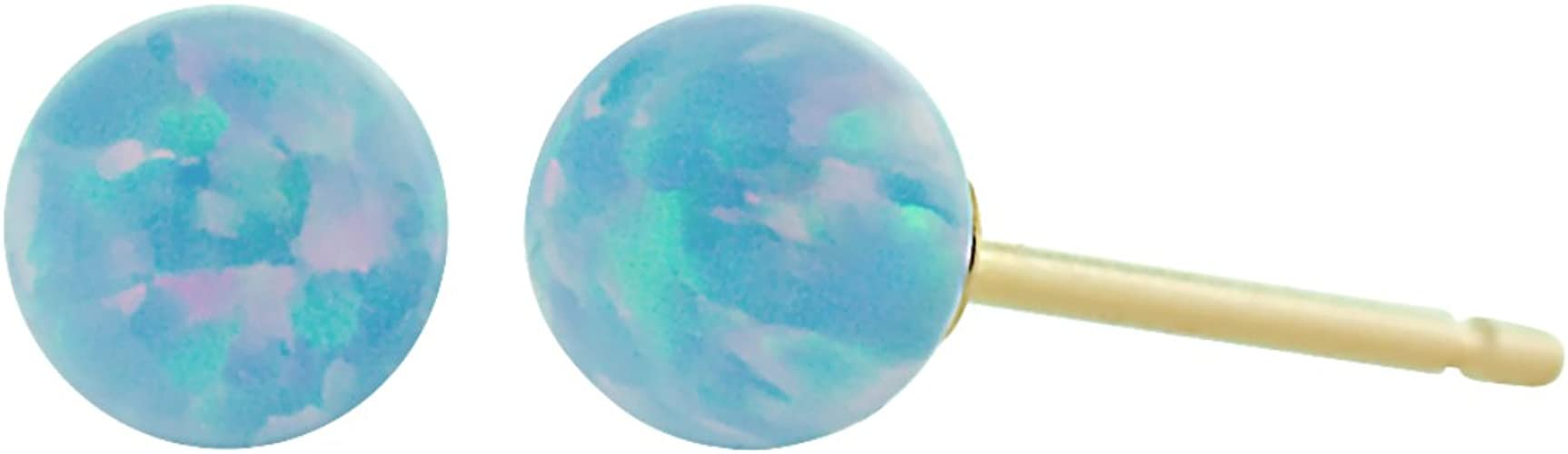Trustmark 14K White Gold Mimosa Pink Synthetic Opal Ball Stud Post Earrings