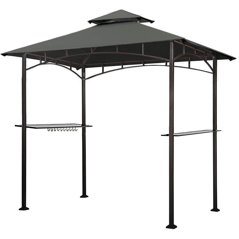 Keymaya 8'x5' Grill Gazebo Shelter for Patio and Outdoor Living BBQ Shelter Tent, Double Tier Soft Top Canopy and Steel Frame with Bar Counters, Bonus LED light (Grey) by Keymaya