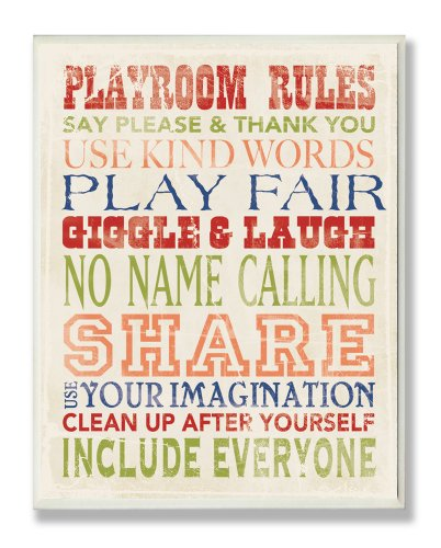 The Kids Room by Stupell Playroom Rules in Four Colors Rectangle Wall Plaque, 11 x 0.5 x 15, Proudly Made in USA