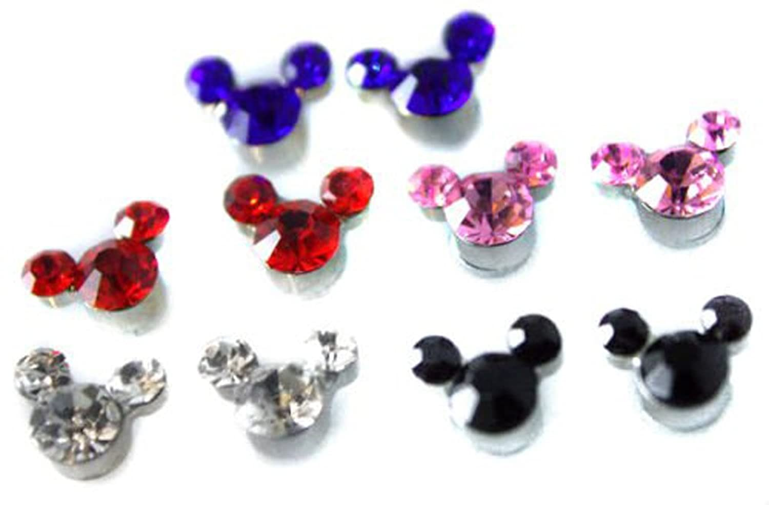 Set Cute Mickey Crystal Girls Kids Magnetic Clipon Earrings Colourful  Childrens