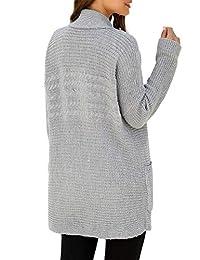 ACKKIA Women's Shawl Collar Open Front Cardigan Pocket Rib Knit Sweater Coat