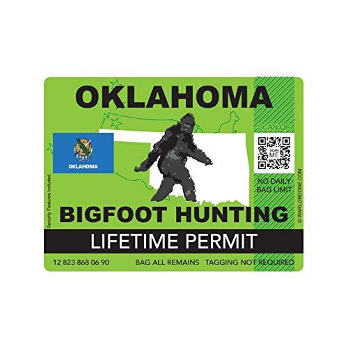 fagraphix Oklahoma Bigfoot Hunting Permit Sticker Die Cut Decal Sasquatch Lifetime FA Vinyl - 4.00 Wide