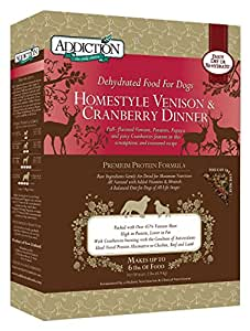 Addiction Raw Dehydrated Dog Food, Homestyle Venison and Cranberry, 2lbs