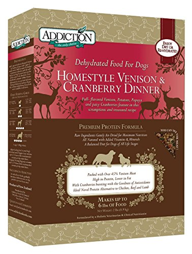 Addiction Homestyle Venison & Cranberry Filler Free Dehydrated Dog Food, 2 lb.