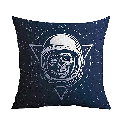 (warmfamily Couple Pillowcase Outer Space Dead Skull Head Icon Cosmonaut Costume Astronomy Terrestrial Horror Scare Image with Hidden Zipper W20 xL20 Grey)