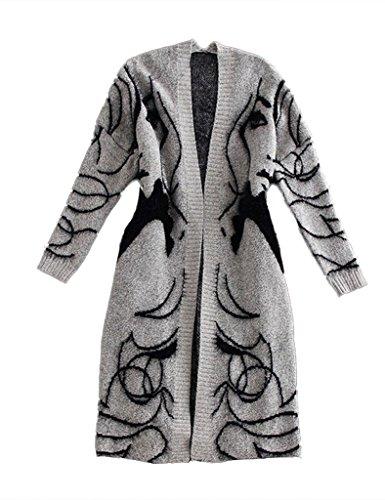 Bestgift Femme Knitted Laine Taille Unique Gris Gilets Gris Taille Unique