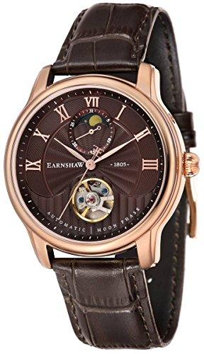 Thomas Earnshaw Mens The Longitude Moonphase Watch - Brown/Rose Gold