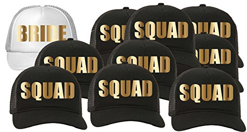 Trucker Hat Squad Bachelorette Party Wedding (10-Pack) 9-Black for the Squad/1-White for the Bride by Custom Apparel R Us