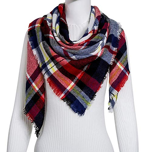 Fashion Winter Scarf For Women Scarf Cashmere Warm Plaid Scarf Luxury Brand Blanket Wraps,C12 ()