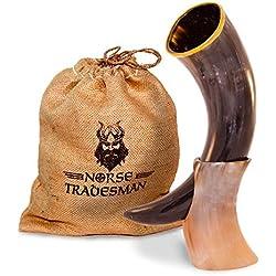 "Genuine Ox-Horn Viking Drinking Horn - w/ Horn Stand and Burlap Gift Sack - 12"" Horn"