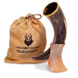 Genuine Ox-Horn Viking Drinking Horn - w/Horn Stand and Burlap Gift Sack - 12'' Horn