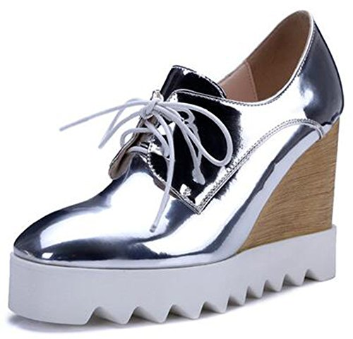 Up Sneakers Platform Lace Heel Wedge Shoes Womens High IDIFU Dressy Silver 60AqzYwwf