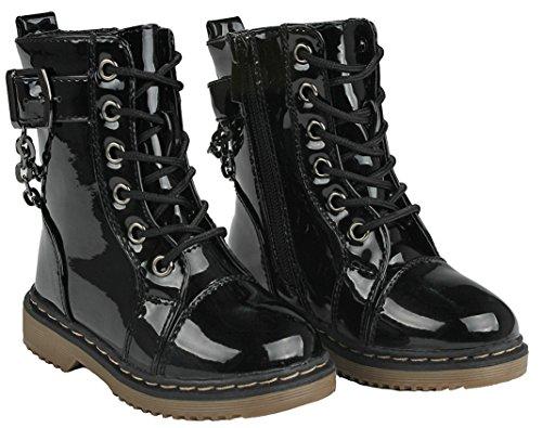 Jjf Chaussures Femmes De La Mode Lacets Doublure Fausse Fourrure Côté Zip Boucle Hiver Bottes De Pluie Noir_alison