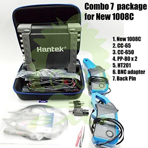 _BMT_ Combo 7 of Hantek New! 1008C Auto USB oscilloscope + 2 pcs PP80 Probe + 1 Set CC650 + 1 Set CC65 Current Clamp + 1pcs HT201 Attenuator + 1 pc BNCtoDMM Adapter + 1 Pair Back Pin -