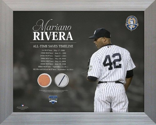 MLB New York Yankees Mariano Rivera All-Time Saves Timeline Jersey and Dirt Collage Photo, ()