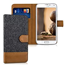 kwmobile Wallet case canvas cover for Samsung Galaxy S5 / S5 Neo / S5 LTE+ / S5 Duos - Flip case with card slot and stand in anthracite brown