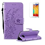 Funyye Strap Magnetic Flip Cover for Samsung Galaxy S7 Edge,Light Purple Elegant Plum Blossom Print Pattern Folio Wallet Case with Stand Credit Card Soft PU Leather Case for Samsung Galaxy S7 Edge