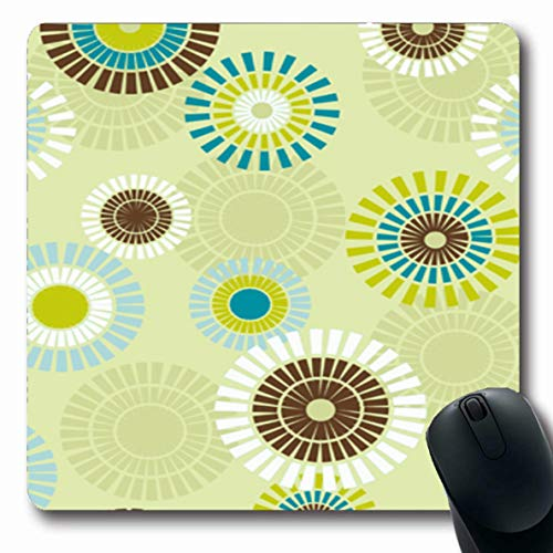 Ahawoso Mousepad Oblong 7.9x9.8 Inches Material Century Abstract Clip Pattern Styled Modern Mid 60S 50S Design Office Computer Laptop Notebook Mouse Pad,Non-Slip Rubber