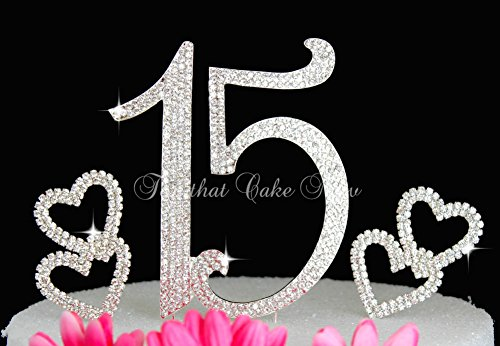 Deluxe-Quinceanera-15-Numbers-cake-topper-in-rhinestones-crystal-Hearts-cake-pick-Set