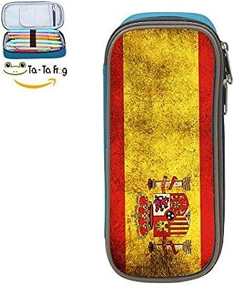 Homecube - Estuche para lápices, gran capacidad, bolsa de maquillaje, resistente, papelería para estudiantes con doble cremallera bandera de España: Amazon.es: Oficina y papelería