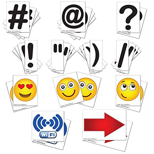 (KitAbility Get Social 5 Inch Set for Large White Message Board Sidewalk Signs, Includes Emoji, Symbols, Additional Punctuation, and Arrows)