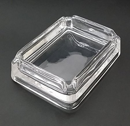 American Flag USA S11 Glass Square Ashtray 4''x3'' Sturdy Cigarette Smoking Bar by JS & Caren