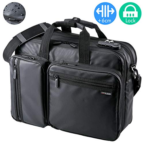 (SANWA 【Japan Brand 15.6 inch Laptop Bag- Business Briefcase Shoulder Messenger Bag with Combination Lock, Expandable, Water Resistance, Handbag Travel Backpack, for MacBook Dell Hp Men/Women, Black)