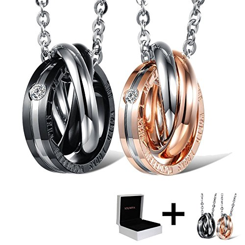 """Silver Necklace Valentine Couples Gifts - YouMiYa """"The World Looks Wonderful When I Am With You"""" Romantic Letters Couple Necklace Pendant Buckle Jewelry Valentines Day Best Gifts For Couple by Sunmid"""