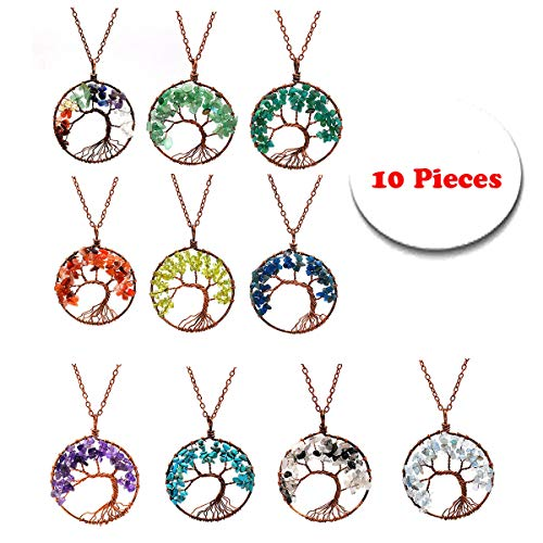 10 Pack Tree of Life Pendant Amethyst Rose Crystal Necklace Gemstone Chakra Handmade Jewelry Wholesale (Jewelry Trees For Sale)