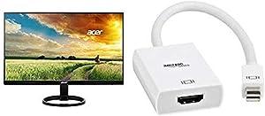 Acer R240HY bidx 23.8-Inch IPS HDMI DVI VGA (1920 x 1080) Monitor & AmazonBasics Mini DisplayPort (Thunderbolt) to HDMI Adapter Bundle