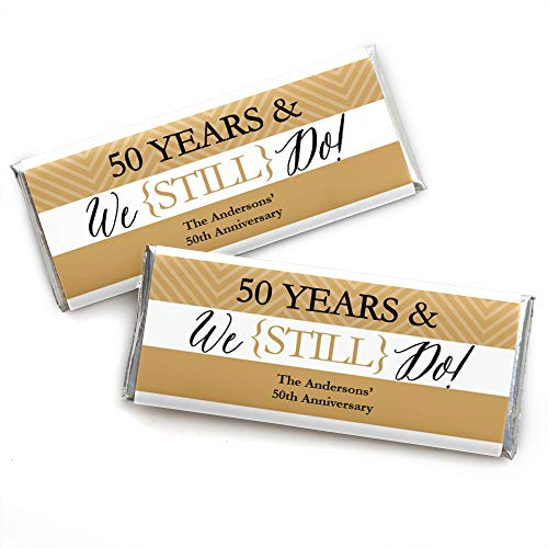 Custom We Still Do – 50th Wedding Anniversary – Personalized Anniversary Party Favors Candy Bar Wrappers – Set of 24