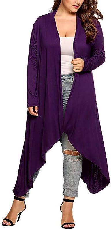 Women's Plus Size Long Sleeve Asymmetric Drape Open