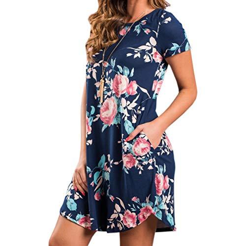 Summer O-Neck Women Mini Dress Floral Print Short Sleeve Dresses Party Vestido H6,Dark Blue,XL -