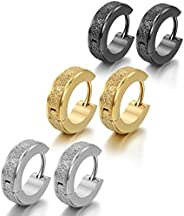 Oidea 6pcs 4MM Stainless Steel Hinge Hoop Earrings,Assorted Color Gold, Silver,Black,Hypoallergenic