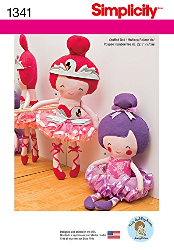 Simplicity Creative Patterns 1341 22-1/2-Inch Stuffed Ballerina Doll Sewing Patterns, One Size