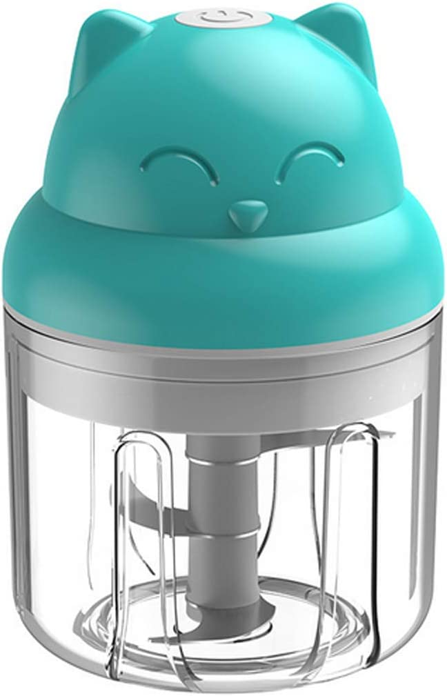 Electric Mini Food Chopper and Processor,Portable Processor for Vegetable/Spices/Seasoning/Nuts/Meat Whenever Kitchen or Outdoor, Rechargeable and Cordless, 250ML (Blue)