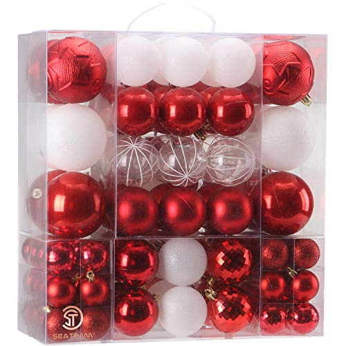 Sea Team 125 Pieces of Assorted Christmas Ball Ornaments Shatterproof Seasonal Decorative Hanging Baubles Set with Reusable Hand-held Gift Package for Holiday Xmas Tree Decorations, Red (And Tree Silver Red Xmas)